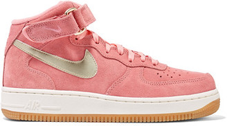 Nike - Air Force 1 Leather-trimmed Suede High-top Sneakers - Pink $110 thestylecure.com