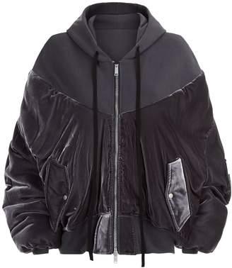 Unravel Velvet Hybrid Hooded Bomber Jacket