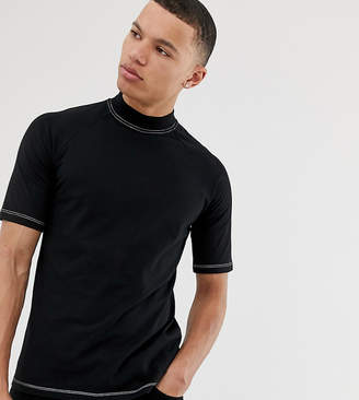 Asos Design DESIGN Tall raglan t-shirt with turtle neck and contrast stitching in black