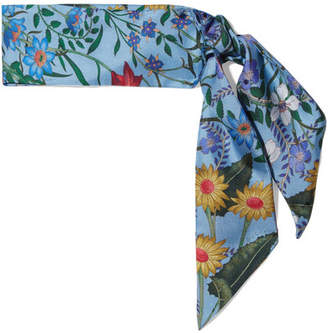 Gucci Floral-print Silk-twill Scarf - Blue