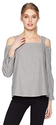Nine West Women's Cold Shoulder Pin Stripe Top