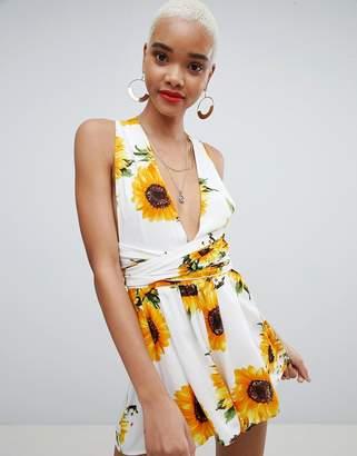 PrettyLittleThing Sunflower Print Tie Waist Romper