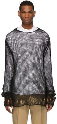 Jil Sander Black Open Knit Crewneck Seater