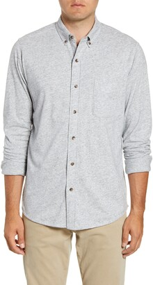Faherty Luxe Regular Fit Heathered Button-Down Knit Shirt