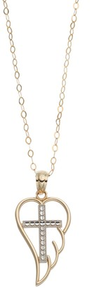 Two Tone 10k Gold Angel Wing & Cross Pendant Necklace