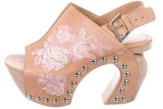 Alexander McQueen Floral Embroidered Platform Sandals