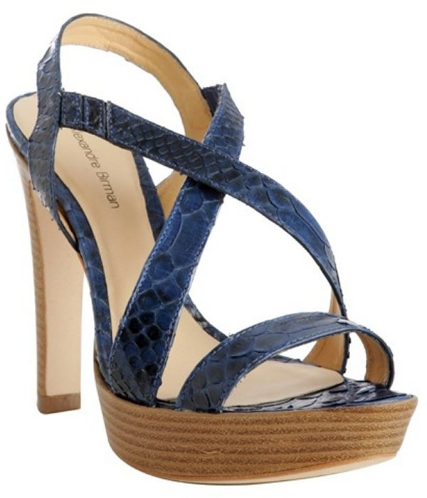 Alexandre Birman royal blue python strappy platform sandals