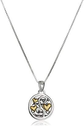 """Sterling Silver and Yellow Gold-Flashed """"Girlfriends"""" Two-Piece Pendant Necklace"""