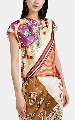 Chloé Women's Mixed-Print Cap-Sleeve Silk Blouse - Grn. Pat.