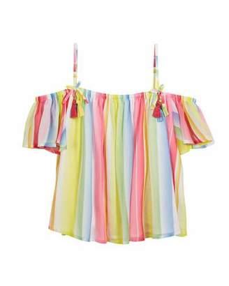 Mayoral Multi-Stripe Off-the-Shoulder Blouse, Size 8-16