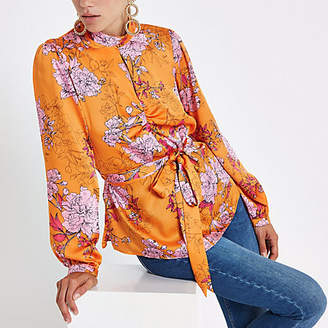 River Island Womens Orange floral print tie front blouse