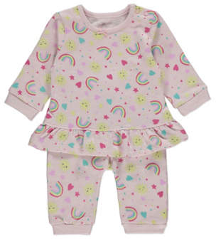 George Pink Rainbow Print Sweatshirt and Joggers Outfit