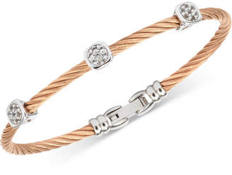 Charriol White Topaz Cable Bangle Bracelet (9/10 ct. t.w.) in Stainless Steel & Rose Gold-Tone PVD Stainless Steel