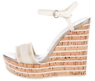 Gucci Patent Leather Cork Wedge Sandals