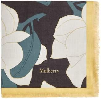 Mulberry Allover Magnolia Square Dark Clay Silk Modal