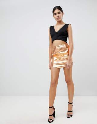 Rare London metallic PU mini skirt