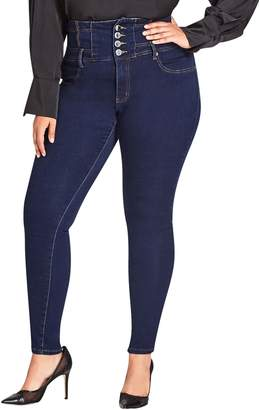 City Chic Harley Corset Waist Stretch Skinny Jeans