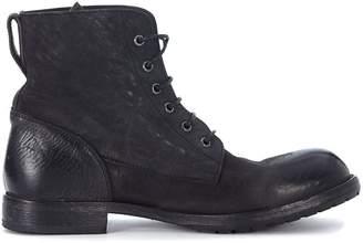 Moma Black Vintage Leather Ankle Boots