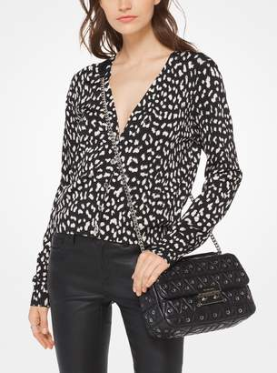 MICHAEL Michael Kors Cheetah Viscose-Blend Cardigan