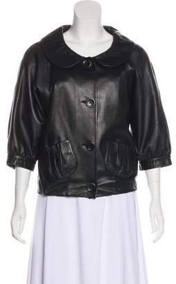 Cynthia Steffe Leather Button-Up Jacket
