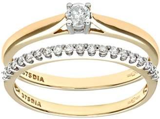 Naava Women's 9 ct Yellow Gold 0.25 ct Diamond Bridal Set Ring