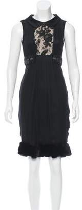 J. Mendel Mink-Trimmed Embellished Dress