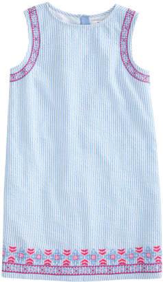 Vineyard Vines Girls Embroidered Seersucker Shift Dress