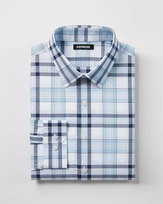 Express Extra Slim Fit Plaid Cotton Dress Shirt