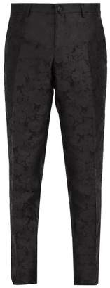 Dolce & Gabbana Tailored Floral Jacquard Silk Trousers - Mens - Black