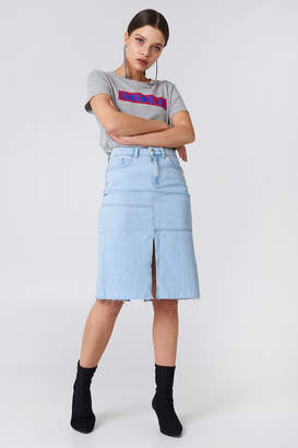 Na Kd Boho Front Back Slit Denim Skirt