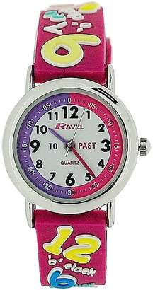 Ravel Time Teacher Girls 3D Know Your Numbers Rubber Watch +Telling Time Award