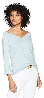 525 America Women's Pleated Ruffle Sleeve V-Neck Sweater