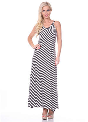 White Mark Women Backless Striped Maxi Dress