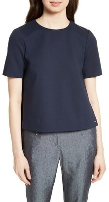 Women's Ted Baker London Naevaa Pleat Back Ponte Top $195 thestylecure.com