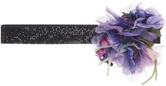 Dolce & Gabbana Floral-Embellished Leather Belt