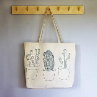 At Notonthehighstreet Snapdragon Cactus Design Canvas Tote Bag