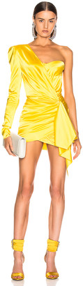 Alexandre Vauthier One Shoulder Wrap Mini Dress in Lemon | FWRD