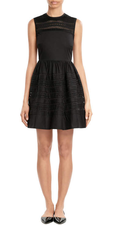 RED Valentino R.E.D. Valentino Cotton Dress with Embroidered Eyelet Trim