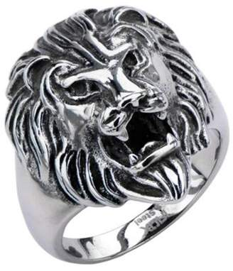 STEEL ART Steel Art Oxidized Stainless Steel Man's Lion Head of Strength, Courage, and Leadership Fashion Ring Size 13