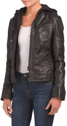 Removable Hood Leather Jacket