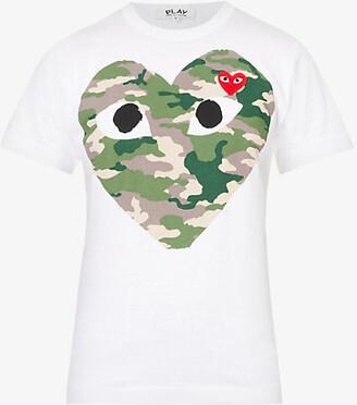Comme des Garcons Big heart camouflage cotton-jersey T-shirt