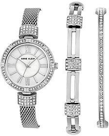 Anne KleinAnne Klein Silvertone Watch & Swarovski CrystalBracelet Set