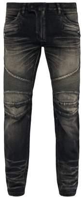 Balmain Tapered Ribbed Inset Biker Jeans - Mens - Black