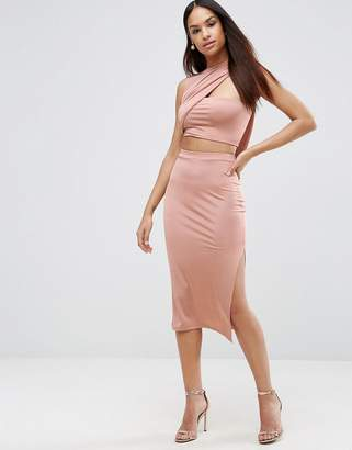 ASOS Slinky Two Piece Wrap Midi Bodycon Dress $53 thestylecure.com