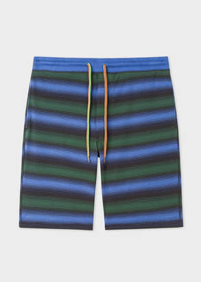 Paul Smith Men's Black Stripe Jersey Cotton Lounge Shorts