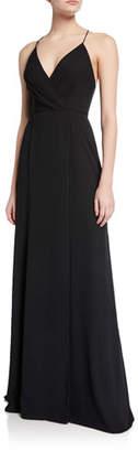 Jay Godfrey V-Neck Cross-Back Spaghetti-Strap Maxi Gown w/ Slit