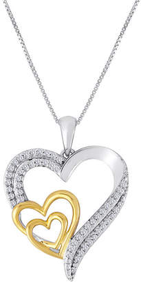 JCPenney FINE JEWELRY ForeverMine 1/10 CT. T.W. Diamond Two-Tone Triple-Heart Pendant Necklace