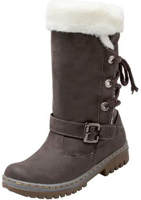 Odetina Women's Winter Warm Synthetic Lace Up Snow Mid Calf Boots