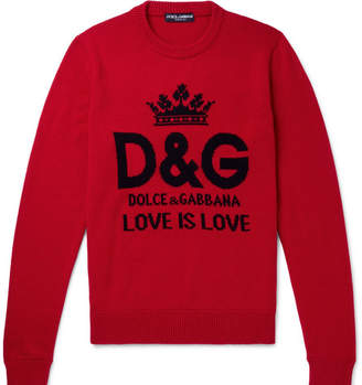Dolce & Gabbana Logo-Intarsia Cashmere Sweater - Men - Red