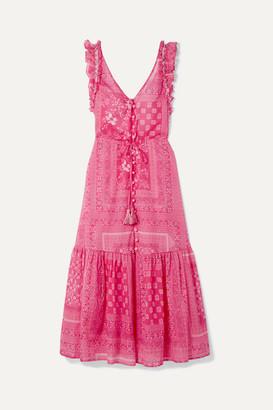 Anjuna - Ruffled Open-back Printed Cotton-voile Midi Dress - Fuchsia